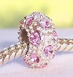 Pugs & Pandoras Pink Rhinestone October Birthstone Bead for Silver European Charm Bracelet PP21208