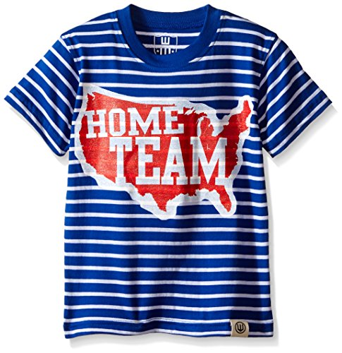 Wes and Willy Big Boys Us Map Printed Stripe Tee, Blue Moon, 4