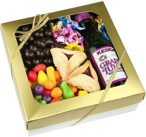 Happy Purim, Gold Lustre Purim Basket