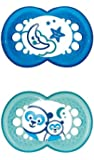 MAM Night Glow in The Dark Soothers Suitable for Travel Case (12 Months and Above Blue/Green)