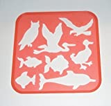 Tupperware Stencil Art Replacement Birds and Fish #1943