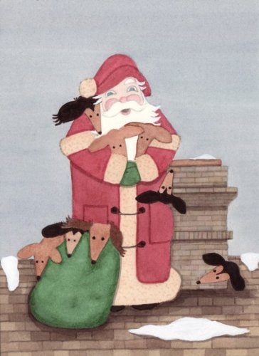 12 Christmas cards: Santa and a bagfull of dachshunds
