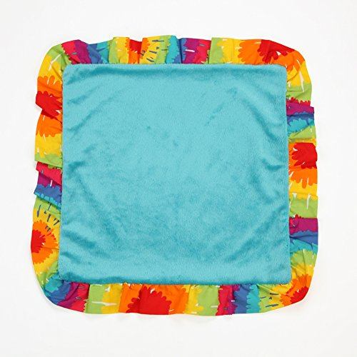 One Grace Place Terrific Tie Dye Binky Blanket, Aqua Blue, Royal Blue, Purple, Yellow, Green, Orange, Pink, Red and White
