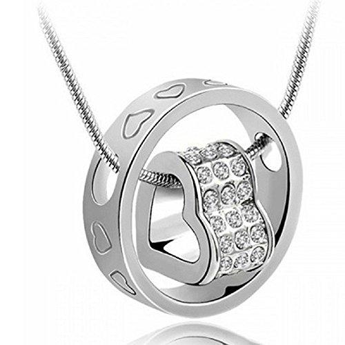 [Women's Fashion Crystal Chain Rhinestone Gift Love Heart Ring Pendant Necklace Silver White] (Michael Jackson Black Or White Costume)