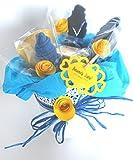 Idea Regalo para Reci�n Nacidos | Macetero con Cremas Weleda y Flores hechas con Calcetines en Algod�n | Baby Shower Gift Idea | Tono Az�l, Para Ni�os
