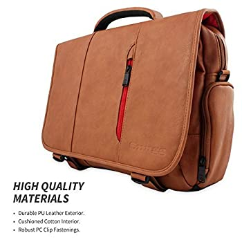 Snugg™ Crossbody Shoulder Messenger Bag in Brown Leather - Fits Laptops up to 17""