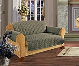 Quilted Pet Dog Children Kids Furniture Protector Slip Cover Sage Sofa