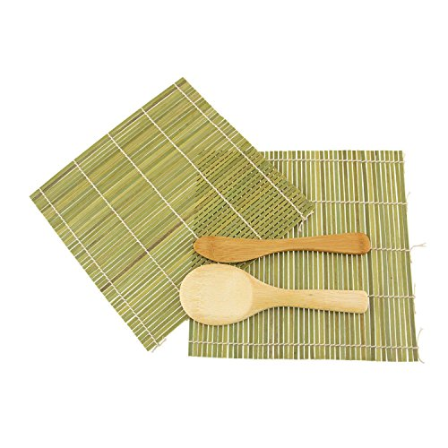 JapanBargain Brand - Sushi Rolling Kit - 2x rolling mats, 1x rice paddle, 1x spreader - green