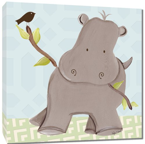 "Doodlefish Gallery-Wrapped 18""x18"" Wall Art, Henry Hippo - 1"