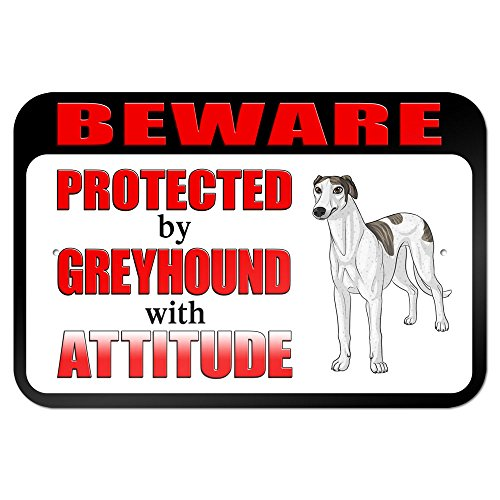 graphics-and-more-229-x-152-cm-beware-protected-by-greyhound-with-attitude-metal-sign-board