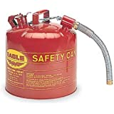 "Eagle U2-51-S Red Galvanized Steel Type II Gas Safety Can with 7/8"" Flex Spout, 5 gallon Capacity, 13.5"" Height, 12.5"" Diameter"