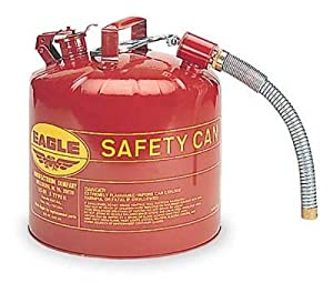 """Eagle U2-51-S Red Galvanized Steel Type II Gas Safety Can with 7/8"""" Flex Spout, 5 gallon Capacity, 13.5"""" Height, 12.5"""" Diameter"""