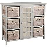 Meuble en bois 5 tiroirs paniers en osier avec housses for Transformer commode en meuble salle de bains