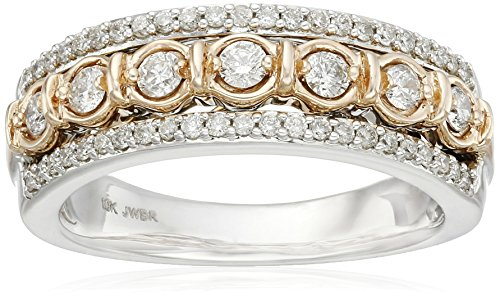 10k-White-and-Pink-Gold-Round-Diamond-Band-Ring-12cttw-I-J-Color-I2-I3-Clarity-Size-6