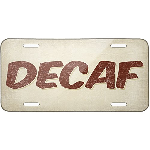 Metal License Plate Decaf Coffee, Vintage Style - Neonblond