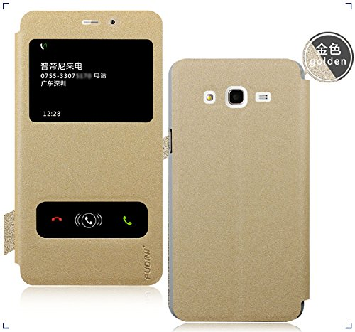 GoRogue Pudini Window Slim Flip Cover with Convertible Back Stand For Samsung Galaxy On7 (Gold)
