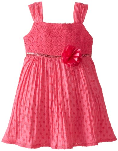 Youngland Little Girls' Sundress With Rosette At Waist, Pink, 6