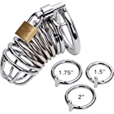 """ALL 3 RINGS ARE INCLUDED! 1.5"""" / 1.75"""" / 2"""" ~ Best Jail House Male Chastity Device with 3rings Adult Products Bondage Gear ~ M200 shipped in discrete package , NO INVOICES included, item in velvet gift pouch"""