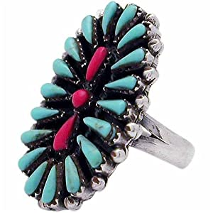 Sterling Silver Turquoise &amp; Coral Oval Flower Ring