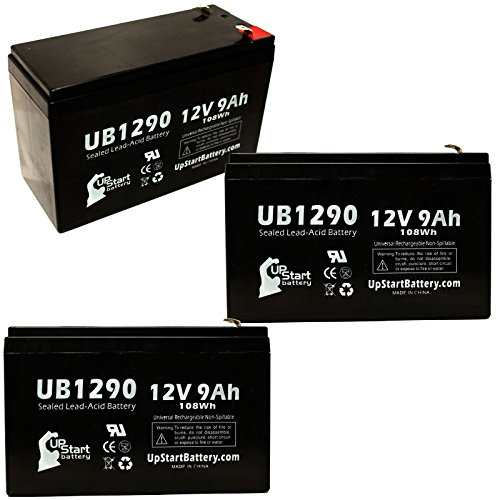 3X Pack - Dallas Instruments 744 Tape Battery - Replacement Ub1290 Universal Sealed Lead Acid Battery (12V, 9Ah, 9000Mah, F1 Terminal, Agm, Sla) - Includes 6 F1 To F2 Terminal Adapters