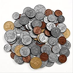 Play Money Coin set-30 pennies, 20 each of nickles, dimes, and quarters, 4 half-dallars, and 2 sacageweas