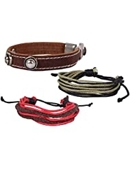Brown Metal Punch Wrist Band Combo Thread Wrist Band