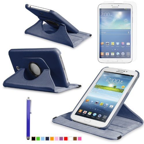 360 Degree Rotating Cover Case for Samsung Galaxy Tab 3 7.0 SM-T210 / SM-T217 With Screen Protector and Stylus Galaxy tab 3 7 case From Sheath TM [ Does not Fit Galaxy Tab 3 Lite SM-T110 ] (Navy Blue)