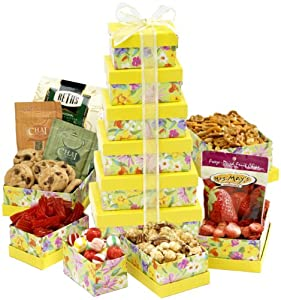 Broadway Basketeers Gift Tower, Fresh and Floral