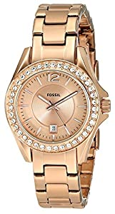 Fossil Women's ES2889 Riley Rose Gold Dial Watch
