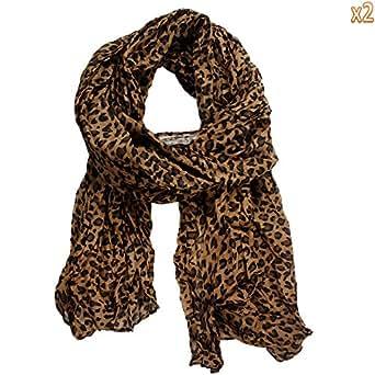 niceeshop(TM) 2Pcs x Brand Fashion Leopard Pattern Shawl Scarf Wrap for Women