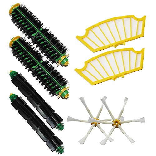 Shp-Zone 2 Filters & 2 Side Brushes 6-Armed & 2 Bristle Brushes & 2 Flexible Beater Brushes Pack Mega Kit For Irobot Roomba 500 Series Roomba 510, 530, 535, 540, 560, 570, 580, 610 Vacuum Cleaning Robots All Green, Red, Black Cleaning Head front-537103