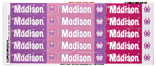 Mabel'S Labels 40845177 Peel And Stick Personalized Labels With The Name Madison And Butterfly Icon, 45-Count