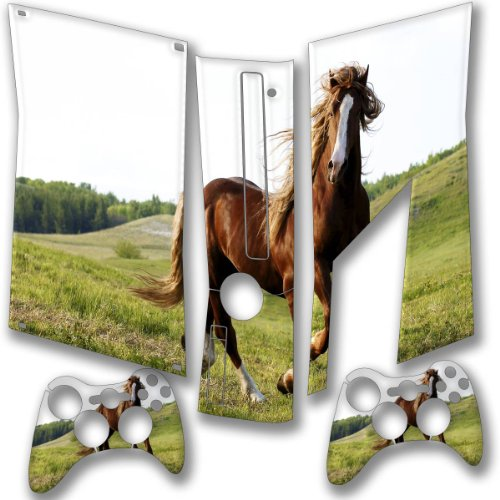 """Horses"" 10018, Snuggle Edition, Sticker For Xbox 360 Slim Game Console. front-319646"
