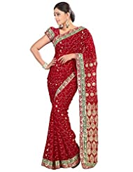 Designer Remarkable Maroon Colored Embroidered Faux Georgette Saree By Triveni