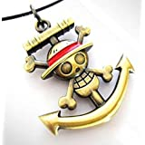 One Piece Skull Logo Anchor Logo Necklace