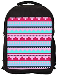 Snoogg Digit Aztec Pink Backpack Rucksack School Travel Unisex Casual Canvas Bag Bookbag Satchel