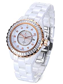 buy Alienwork Ik Quartz Watch Sapphire Glass Wristwatch Rhinestone Stylish Ceramic White White 80001G-A