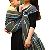 Vlokup® Wrap Original 100% Cotton Adjustable Baby Carrier Infant Lightly Padded Ring Sling Grey Rainbow