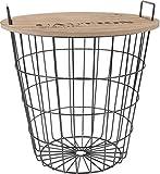 Design Beistelltisch aus Metall mit Holz Tischplatte - dekorativer Couchtisch inkl. Korbablage
