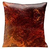 Lama Kasso Como Gardens Rich Earth Tone Marble Swirl Satin 18-Inch Square Pillow, Design on Both Sides