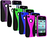 5-in-1 Bundle Combo Colorful (Purple, Blue, Hot Pink, Green, White) 3-Piece Snap On Hard Case Cover For AT&T Verizon Sprint Apple iPhone 4 4S 4G