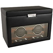 Wolf Designs Module 2.7 Roadster Double Watch Winder with Cover and Storage, Black