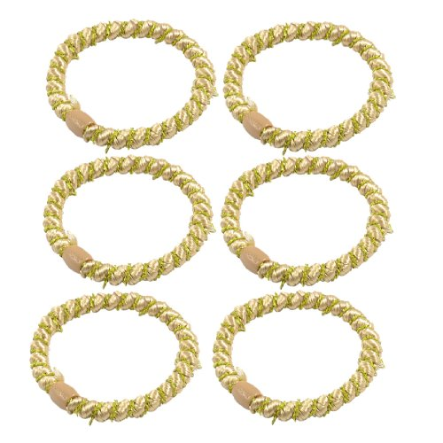 Rosallini Woman Beads Accent Beige Braided Ponytail Holders Hair Bands 10 Pcs