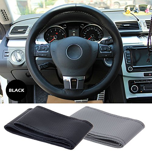 Lemonbest C0196 Universal Anti Slip Leather Car Steering Wheel Stitch On Wrap Cover, 106cm, Black