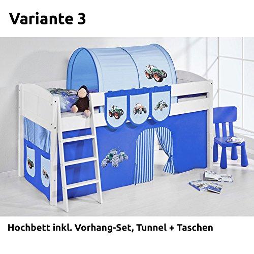 Hochbett Spielbett IDA Trecker Blau, mit Vorhang, weiß, Variante 3 kaufen