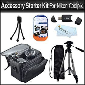 "Accessory Starter Kit For The Nikon Coolpix L21, L22, L110 L120 Digital Camera Includes Deluxe Carrying Case + 50"" Tripod With Case + USB 2.0 Card Reader + LCD Screen Protectors + Mini Flexible Tripod + 3 Pc. Lens Cleaning Kit + MicroFiber Cleaning Cloth"