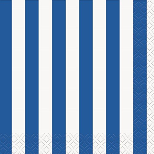 Royal Blue Striped Beverage Napkins, 16ct