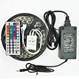 eBoTrade 16.4-Feet SMD 5050 5M Waterproof 300LEDs RGB Flexible LED Strip Light Lamp Kit with 44 Key IR Remote Controller W/ 12V 5A Power Supply Adapter