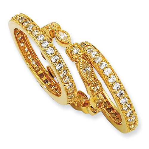 Gold-Plated Sterling Silver Cz Eternity Three Ring Set, Size 8