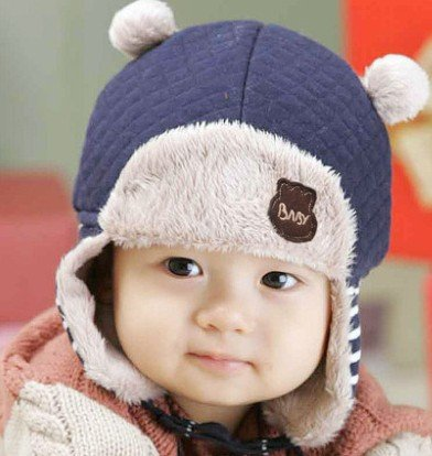 TIAN® - Nette Kinder Winter-Hippie Ohrenklappen-Mütze Lei Feng Cap 3504 Größe (50-52cm) - Blau